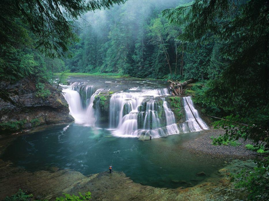 fishing waterfalls rivers wallpaper