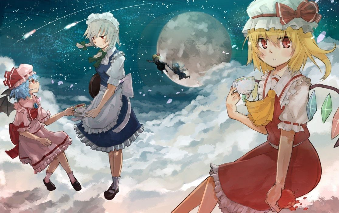 blondes video games clouds Touhou wings dress night stars flying maids tea fruits food Moon cups Cirno socks Izayoi Sakuya fairies blue hair vampires red eyes short hair crystals blush bows red dress ponytails aprons Flandre Scarlet flower petals blue dre wallpaper