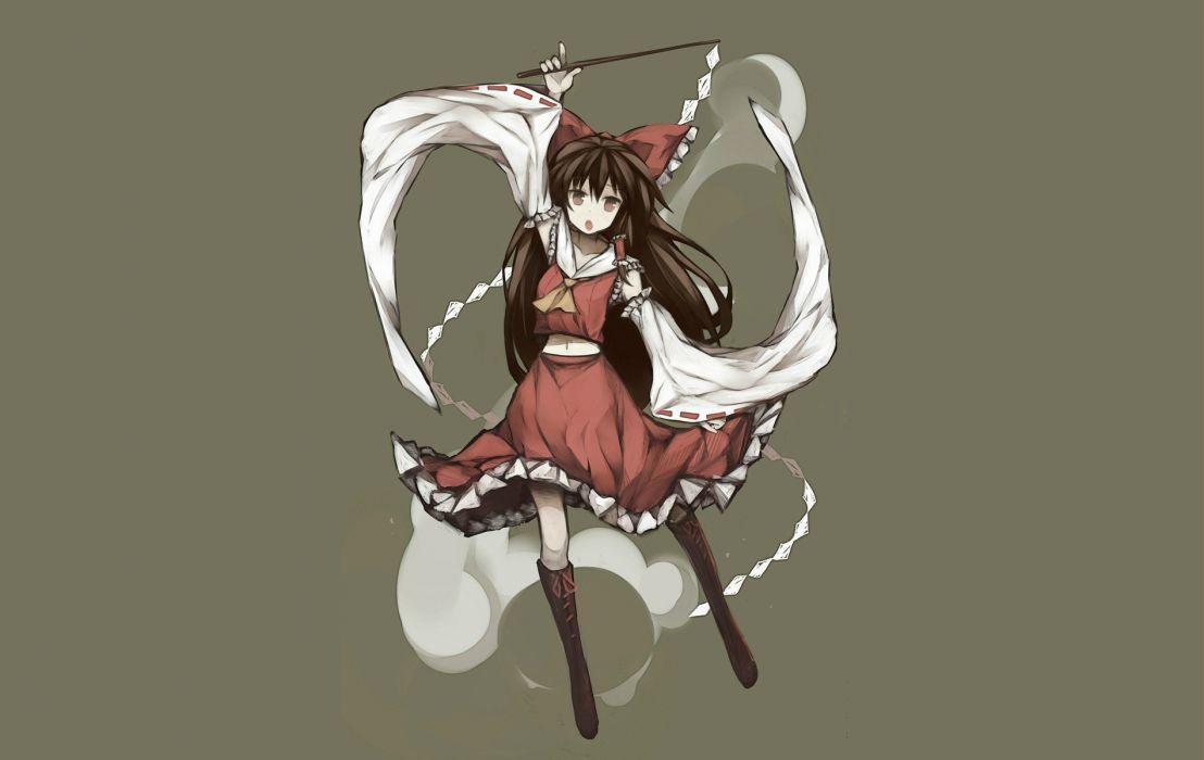 brunettes Touhou long hair ribbons thigh highs Hakurei Reimu miniskirts simple background polearm hair bow hand up long sleeve wallpaper