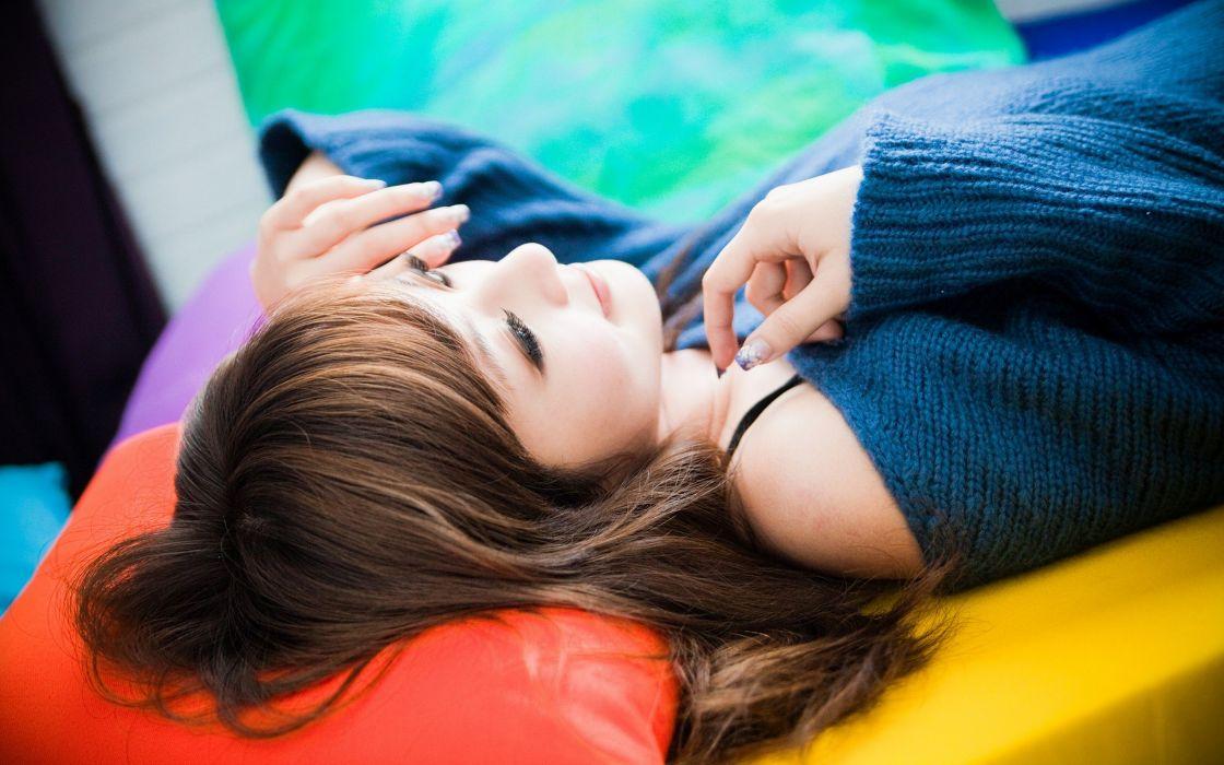brunettes women Asians lying down wallpaper