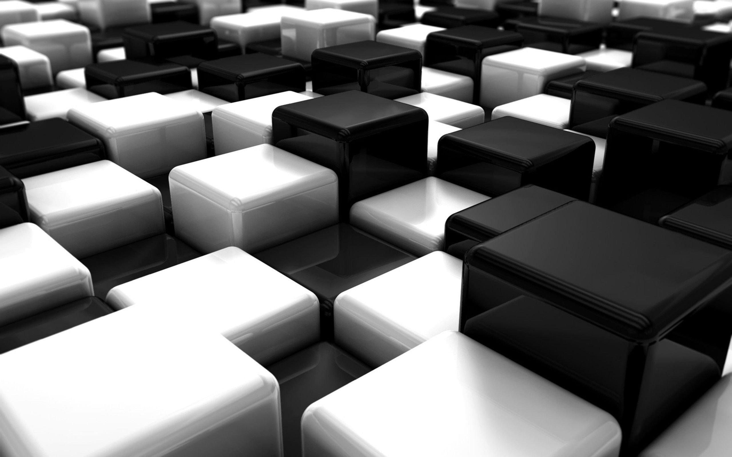 Abstract Black And White Blocks Cubes Digital Art Wallpaper