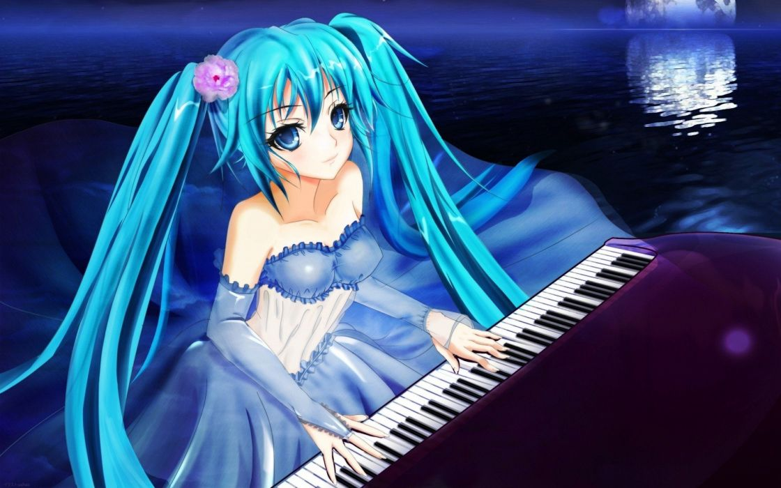 water Vocaloid dress piano Hatsune Miku Moon detached sleeves wallpaper