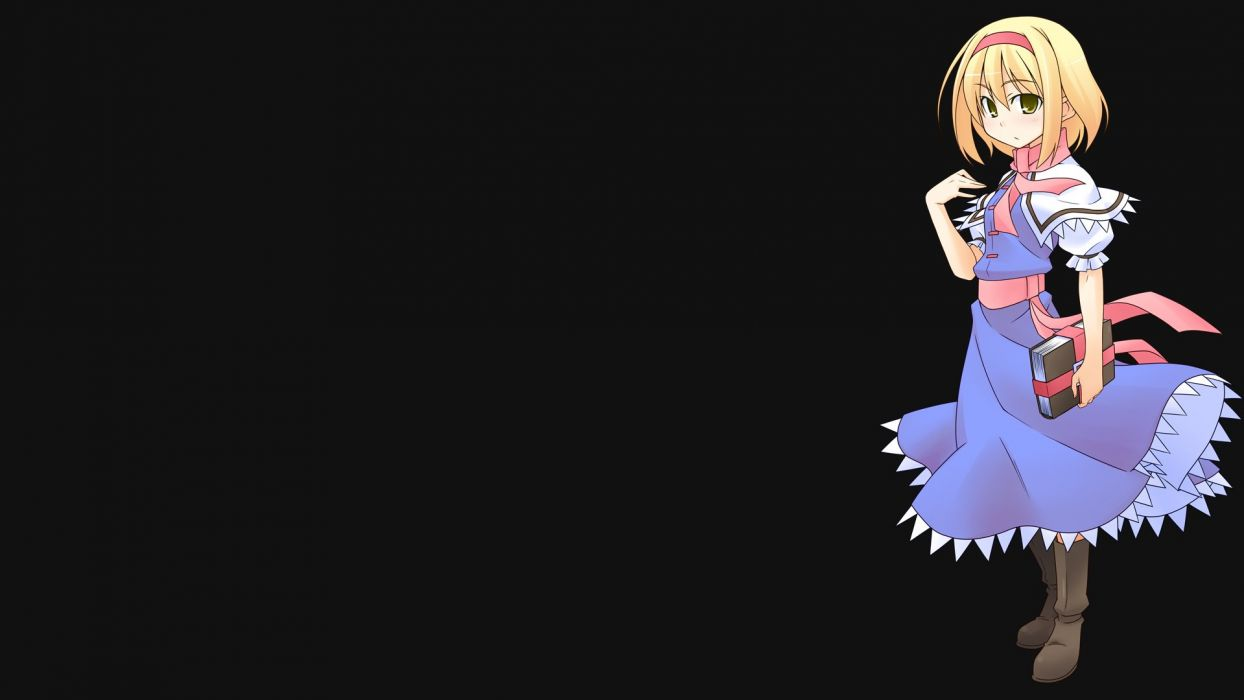 video games Touhou dress Alice Margatroid simple background wallpaper