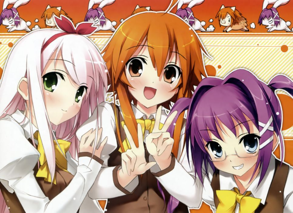 video games blue eyes school uniforms schoolgirls glasses long hair ribbons green eyes purple hair pink hair visual novels twintails smiling blush bows open mouth meganekko orange eyes orange hair anime girls hair band Kantoku (artist) Shinkyoku Soukai Po wallpaper