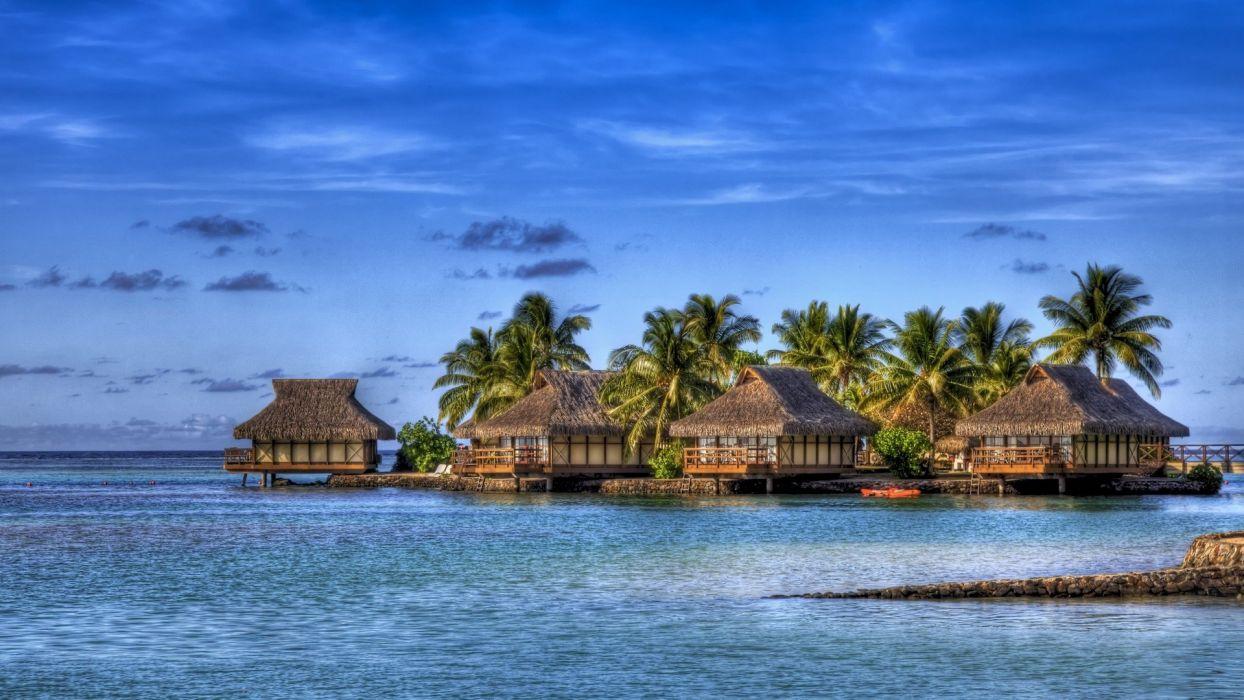 blue ocean Hawaii shore tropical islands skyscapes wallpaper