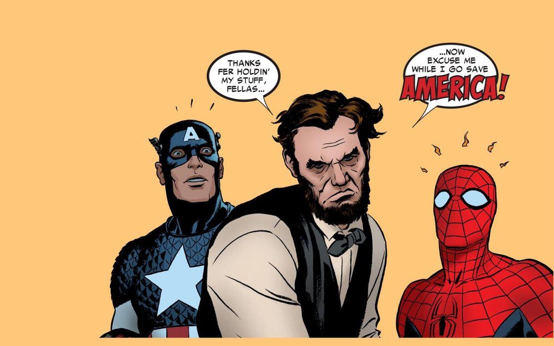 comics Spider-Man Captain America Abraham Lincoln wallpaper