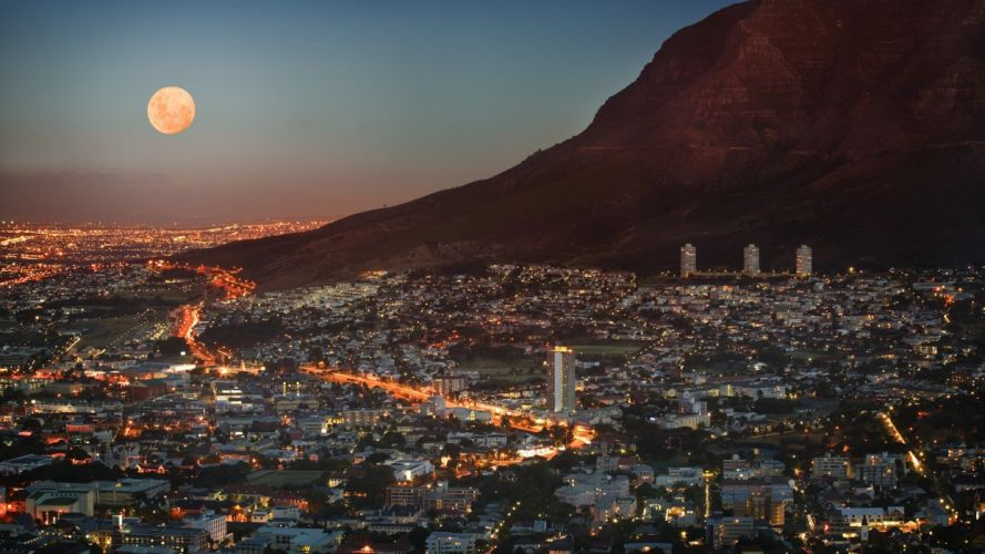 South Africa Cape Town Full Moon wallpaper