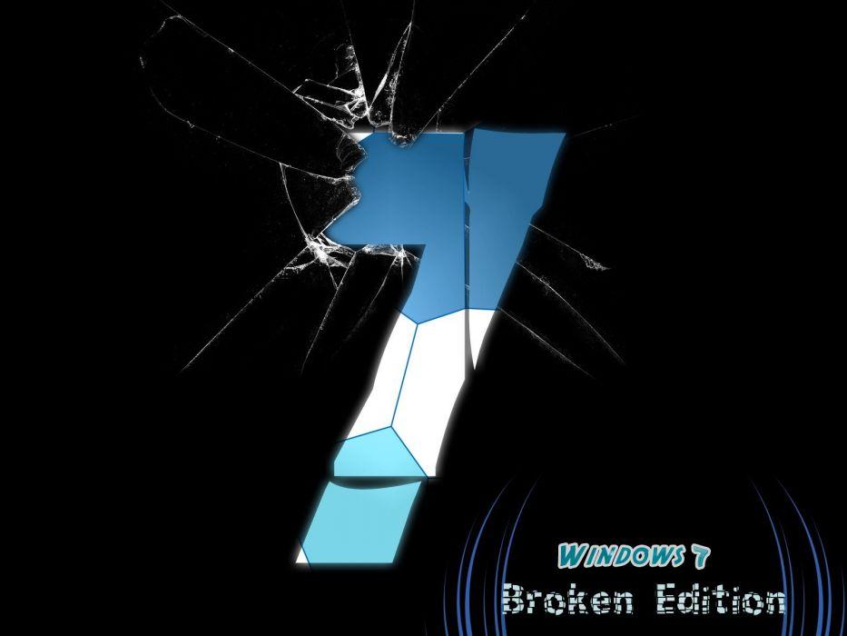 Windows 7 broken broken screen numbers wallpaper