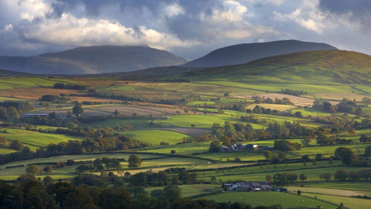 landscapes north Wales United Kingdom National Park farmland wallpaper