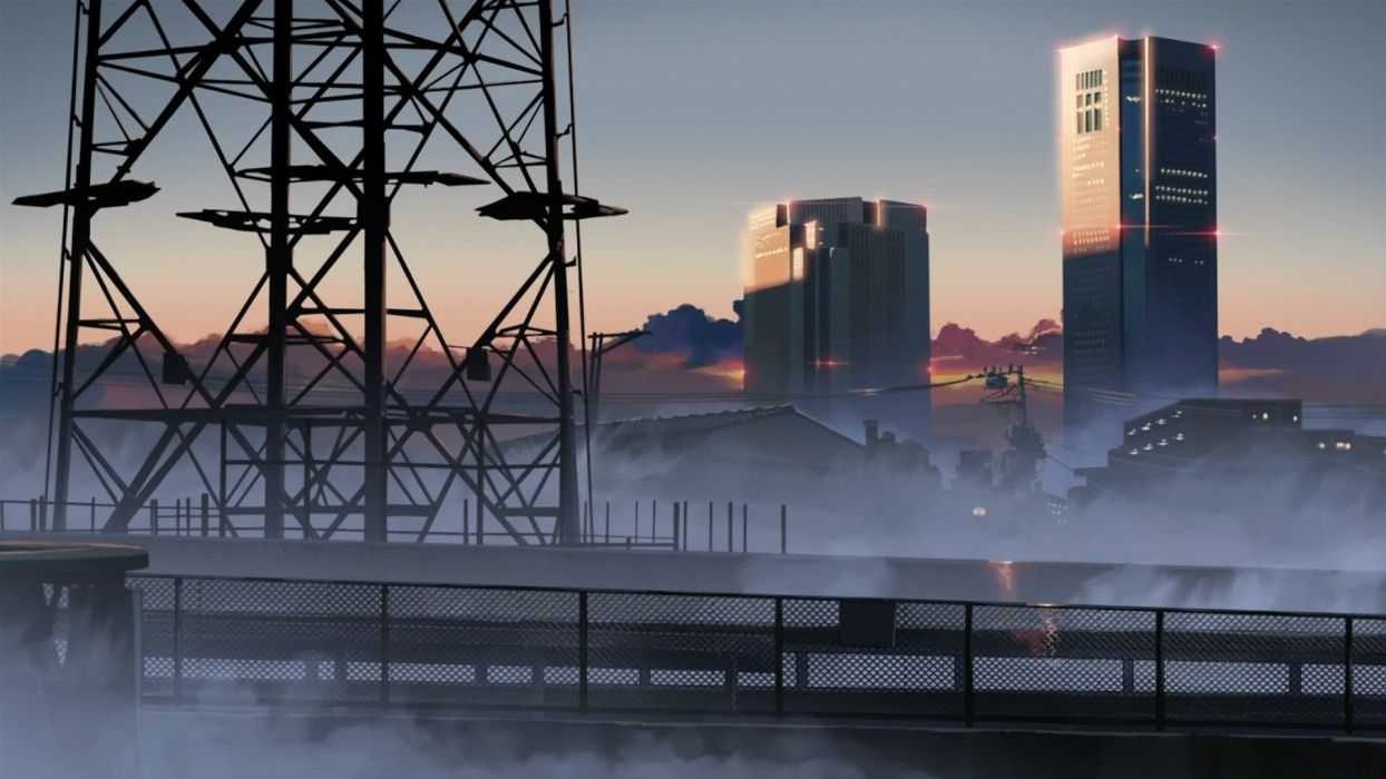 fog Makoto Shinkai power lines 5 Centimeters Per Second wallpaper