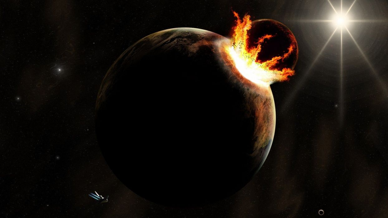 outer space planets impact wallpaper