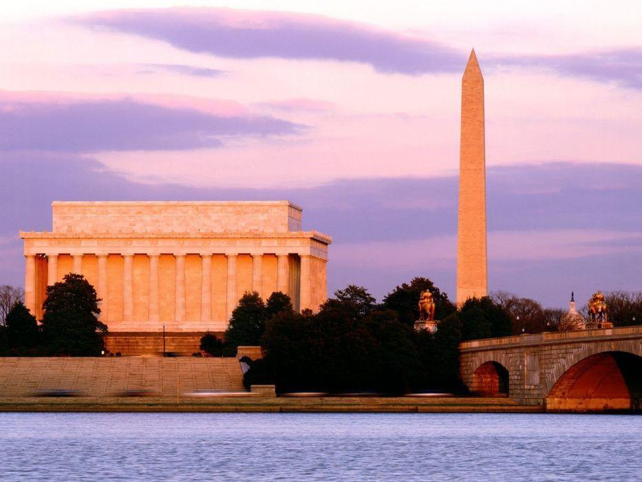 architecture bridges Washington DC rivers washington monument cities wallpaper