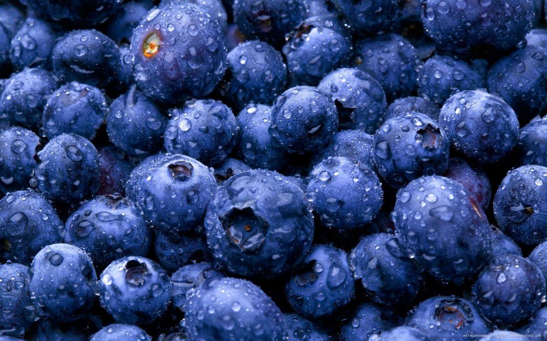 nature fruits food water drops berries blueberries wallpaper