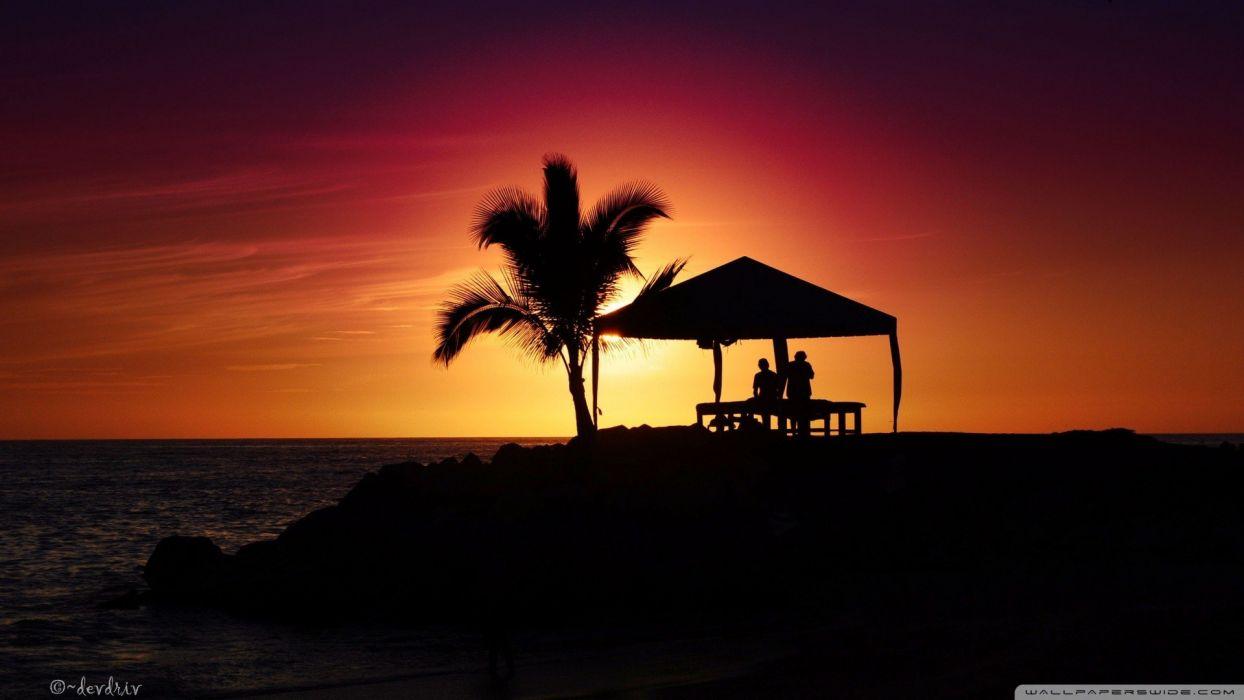 nature Sun silhouettes summer palm trees huts sea beaches wallpaper