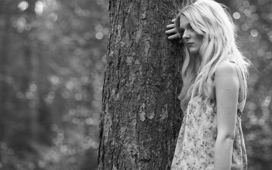 blondes women black and white trees forests wallpaper