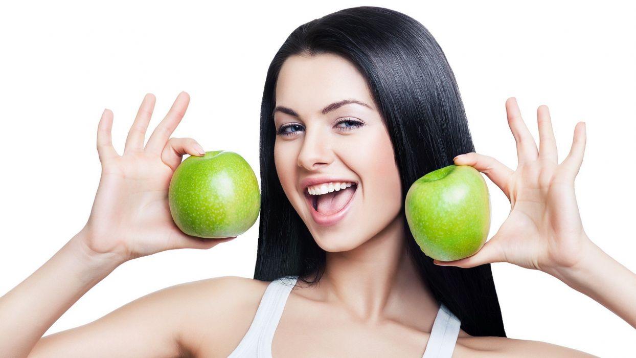 brunettes women fruits models healthy apples wallpaper