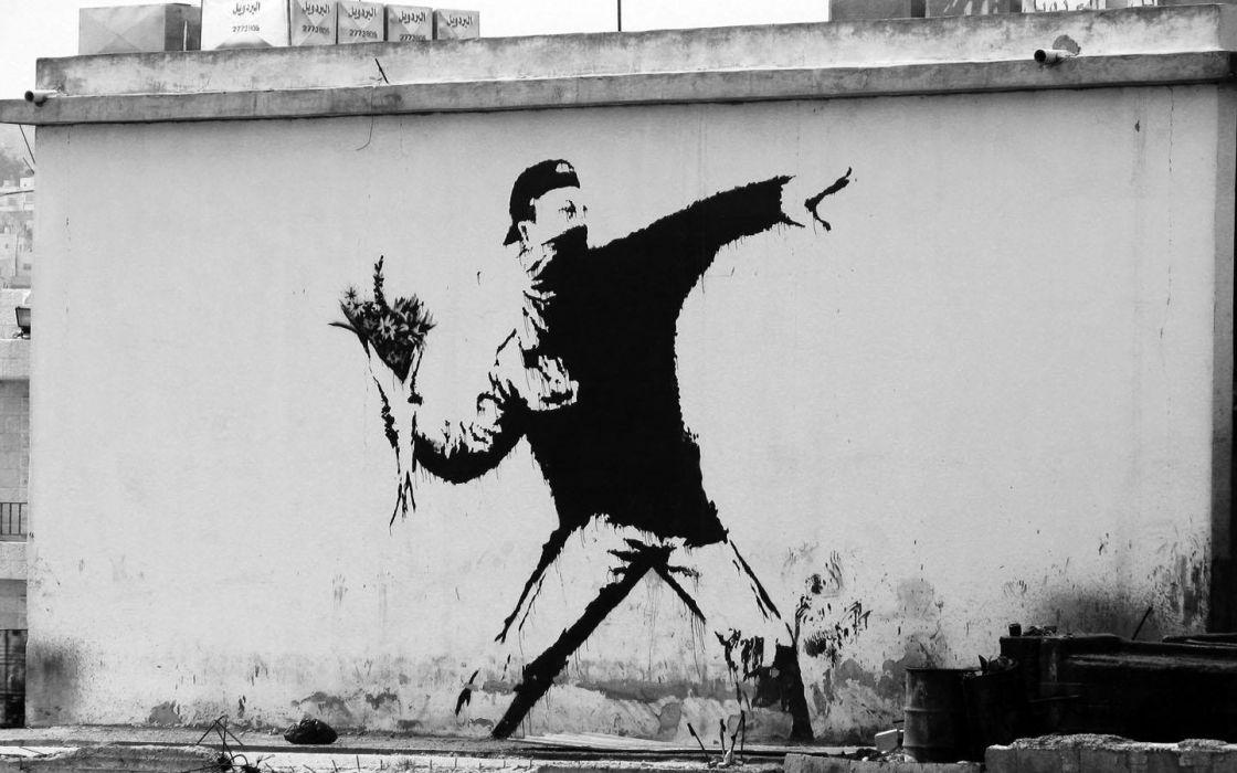 graffiti Banksy grayscale monochrome wallpaper