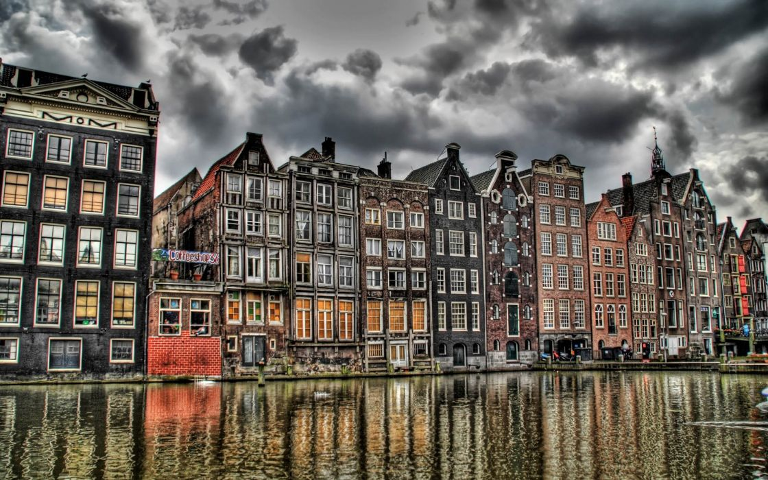 clouds buildings Europe dam Holland Amsterdam HDR photography rivers reflections wallpaper