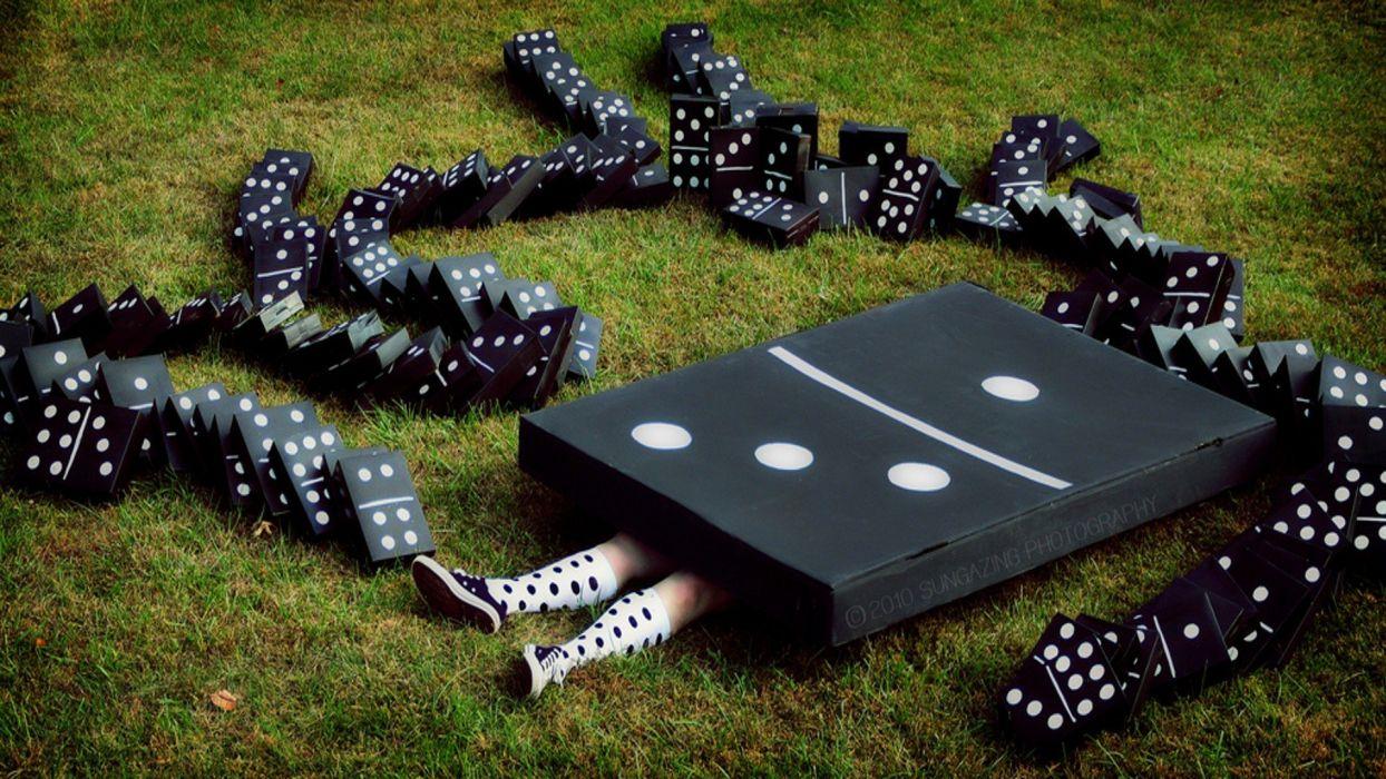 funny dominos game photo manipulation wallpaper