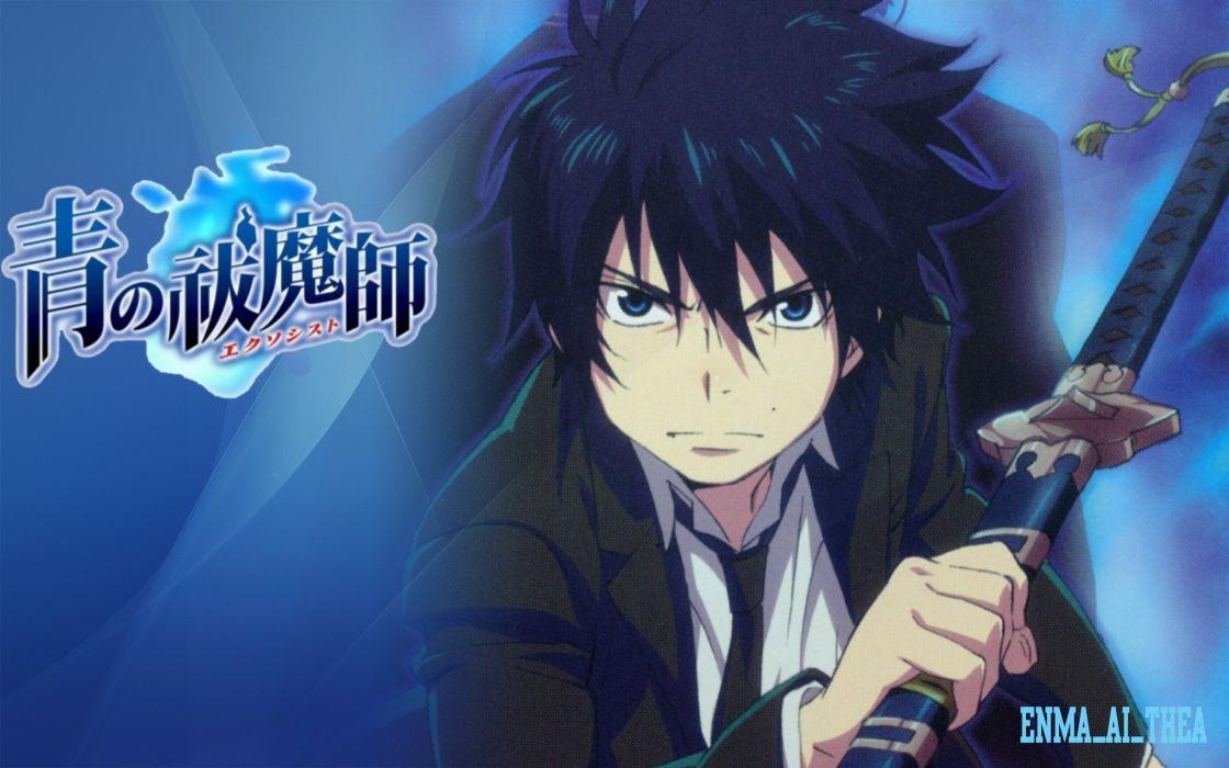 school uniforms anime anime boys Ao no Exorcist Okumura Rin swords wallpaper