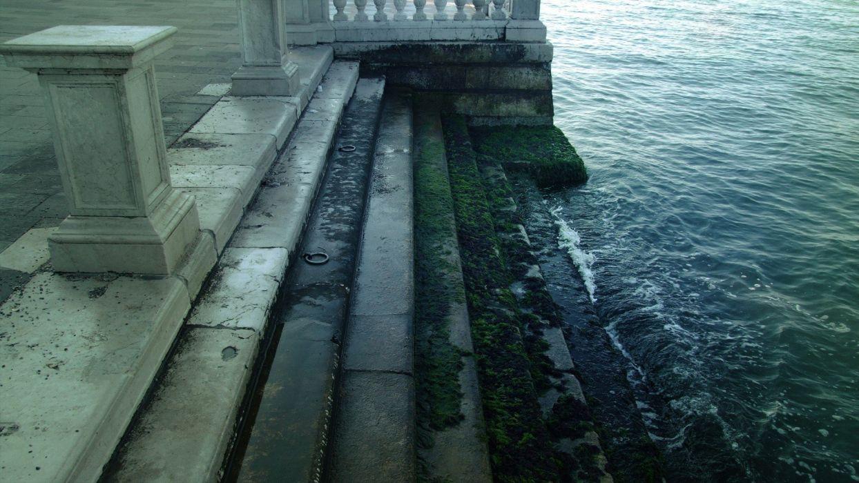 green water blue architecture Atlantis stairways Venice Italy algae Aqua sea wallpaper