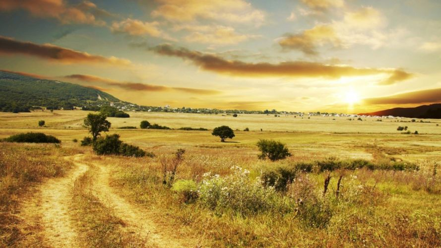 landscapes nature countryside country road wallpaper