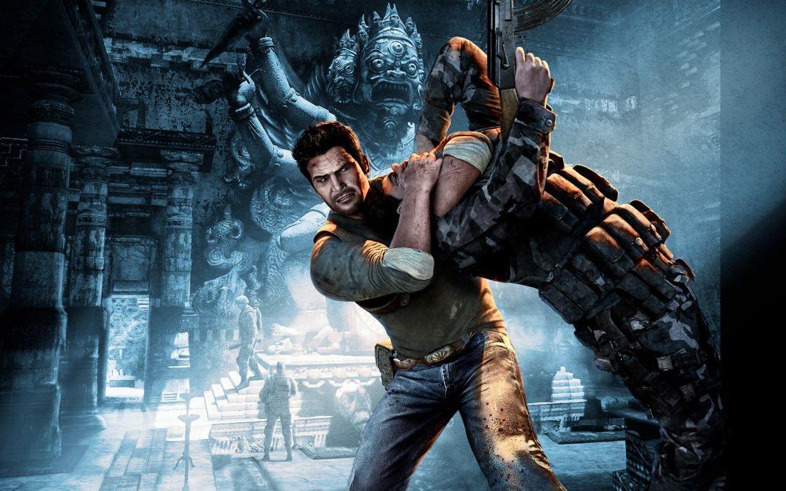 video games Uncharted battles temples games wallpaper