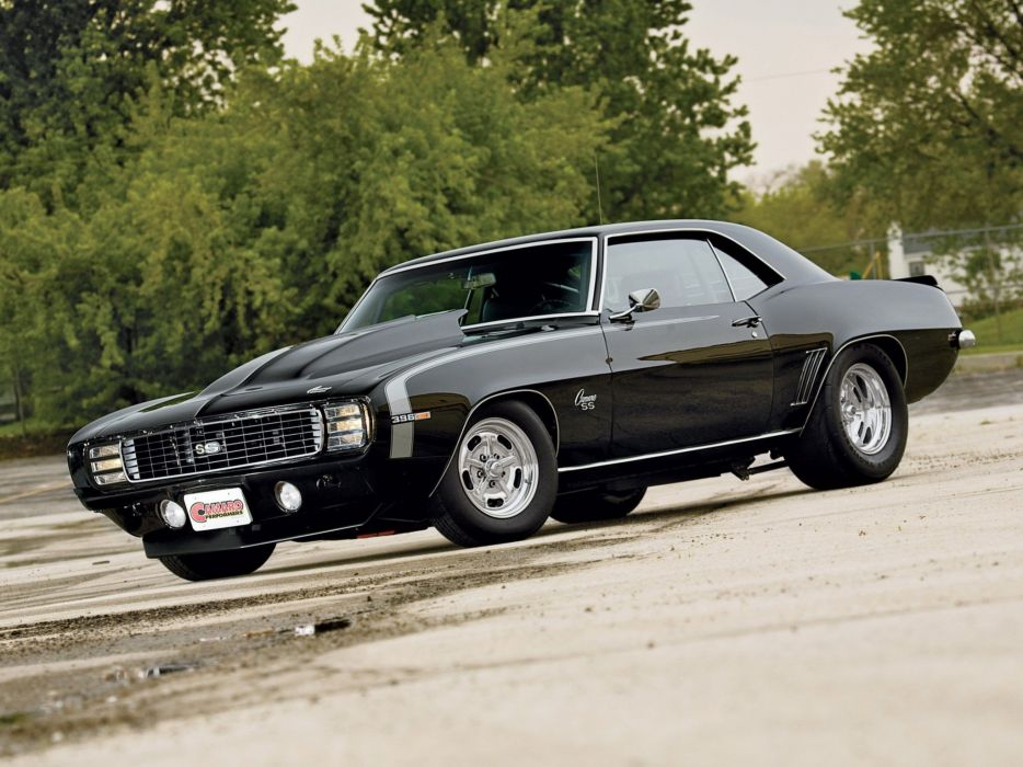 trees cars scenic vehicles Chevrolet Camaro SS black cars wallpaper