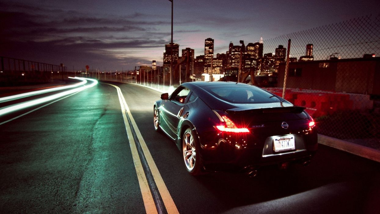 Streets Night Cars Roads Long Exposure Nissan 370z Wallpaper