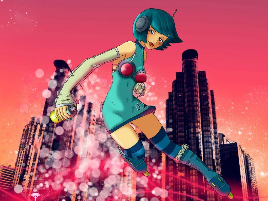 JET SET RADIO action platform sports grind sega anime game (4) wallpaper
