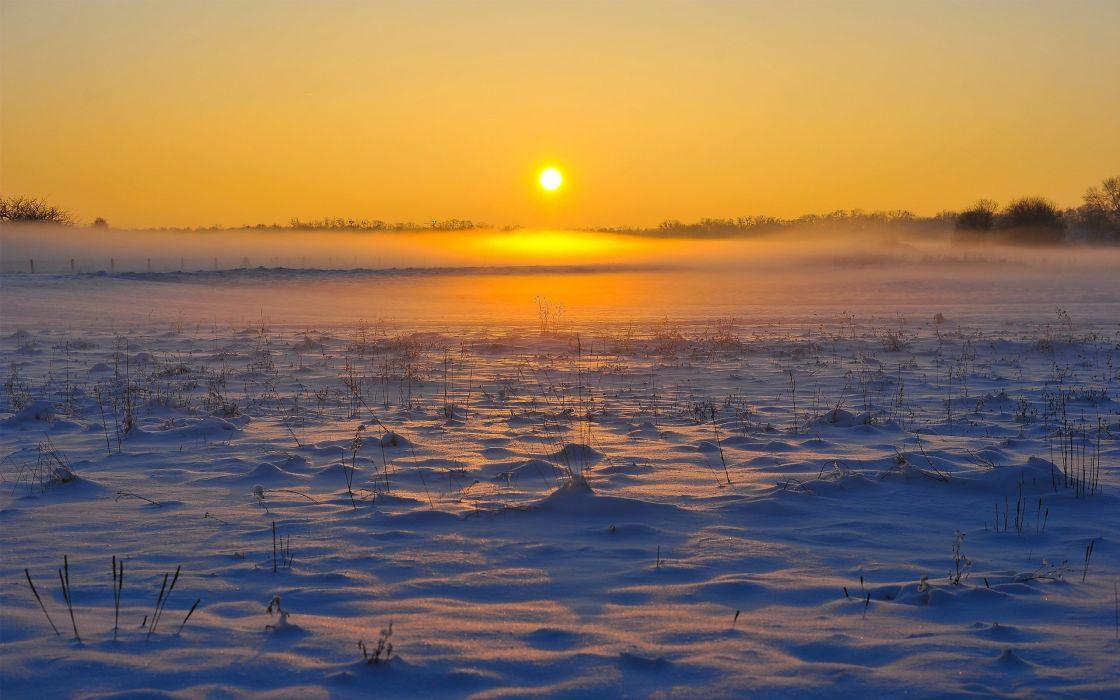 sunset landscapes winter snow wallpaper
