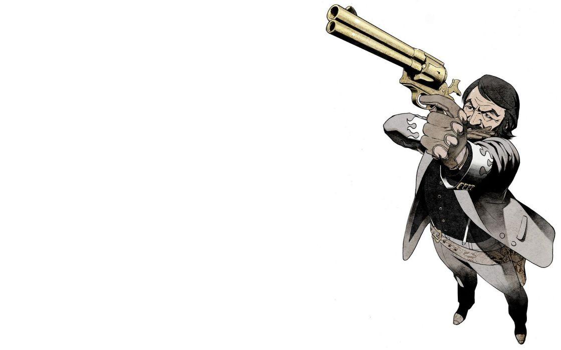 revolvers Pixiv cowboys No More Heroes simple background anime girls Kozaki Yusuke wallpaper