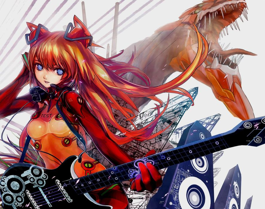 music blue eyes long hair Neon Genesis Evangelion guitars bodysuits Asuka Langley Soryu anime girls wallpaper