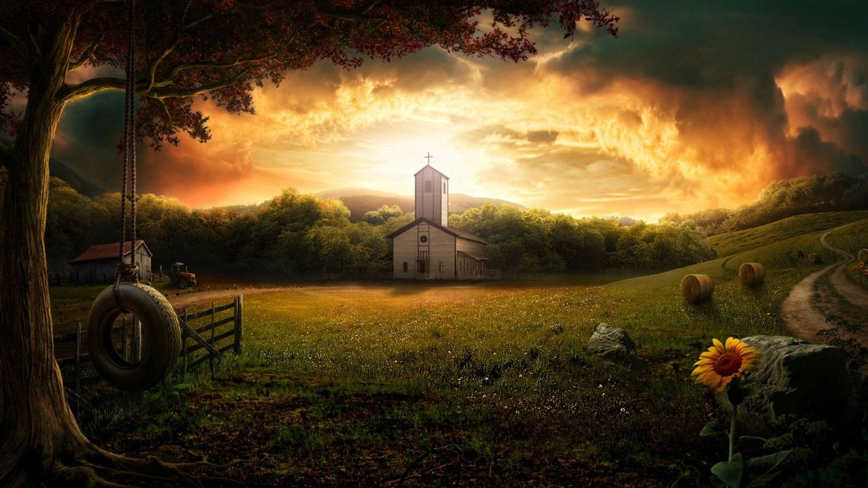sunset clouds landscapes nature flowers churches sunflowers wallpaper