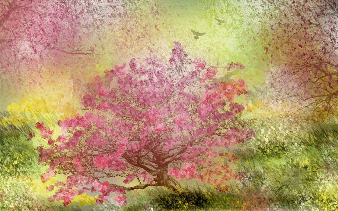 paintings trees wallpaper
