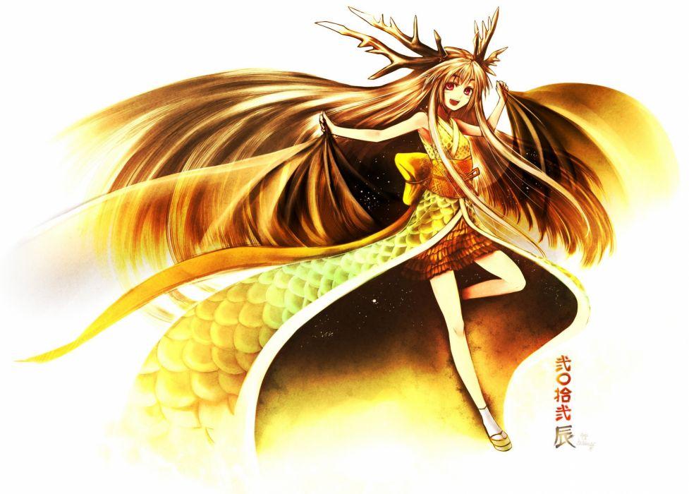 dress horns simple background anime girls Kotoba Noriaki wallpaper