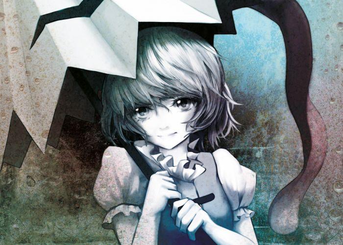 video games Touhou tongue short hair umbrellas soft shading Tatara Kogasa faces polychromatic bangs Eruza wallpaper