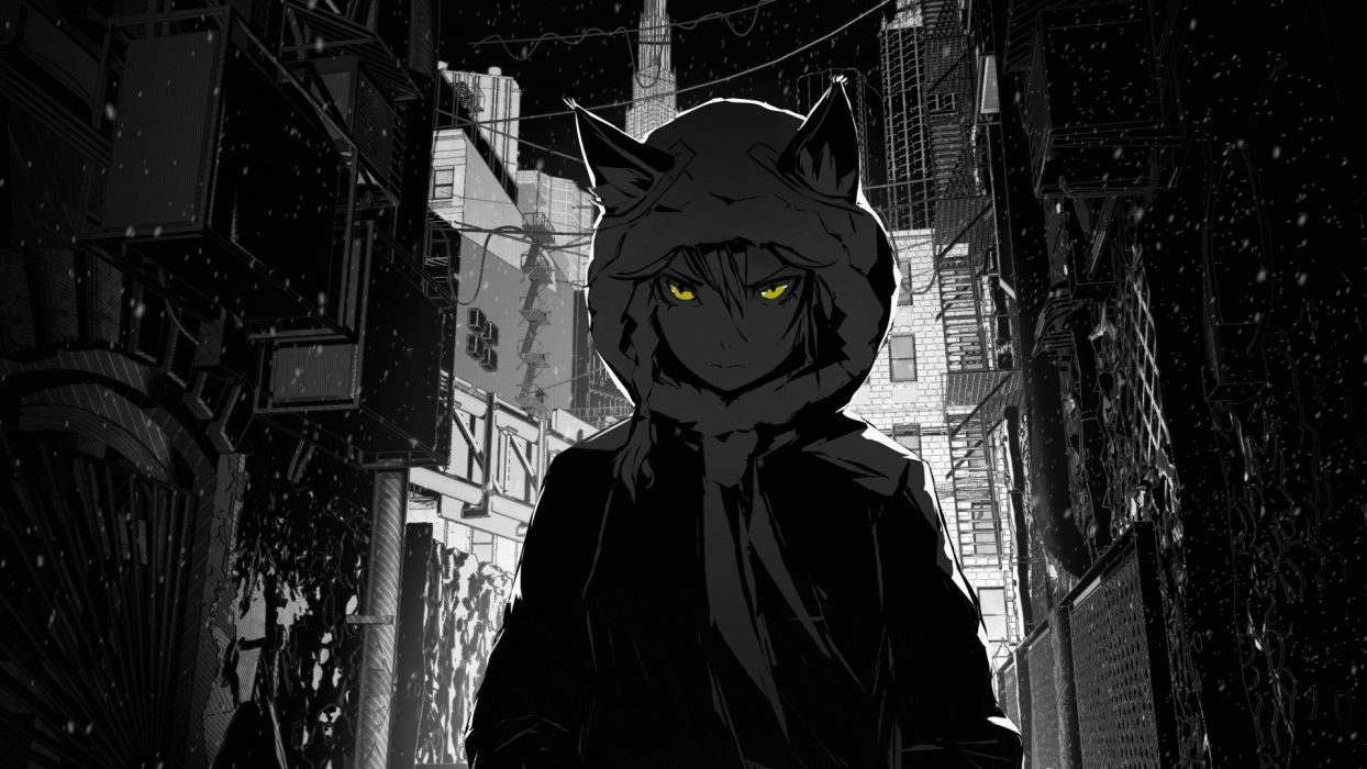 houses buildings nekomimi jackets stairways short hair grayscale skyscrapers yellow eyes snowflakes hoodies braids selective coloring scarfs anime girls cables cities wallpaper