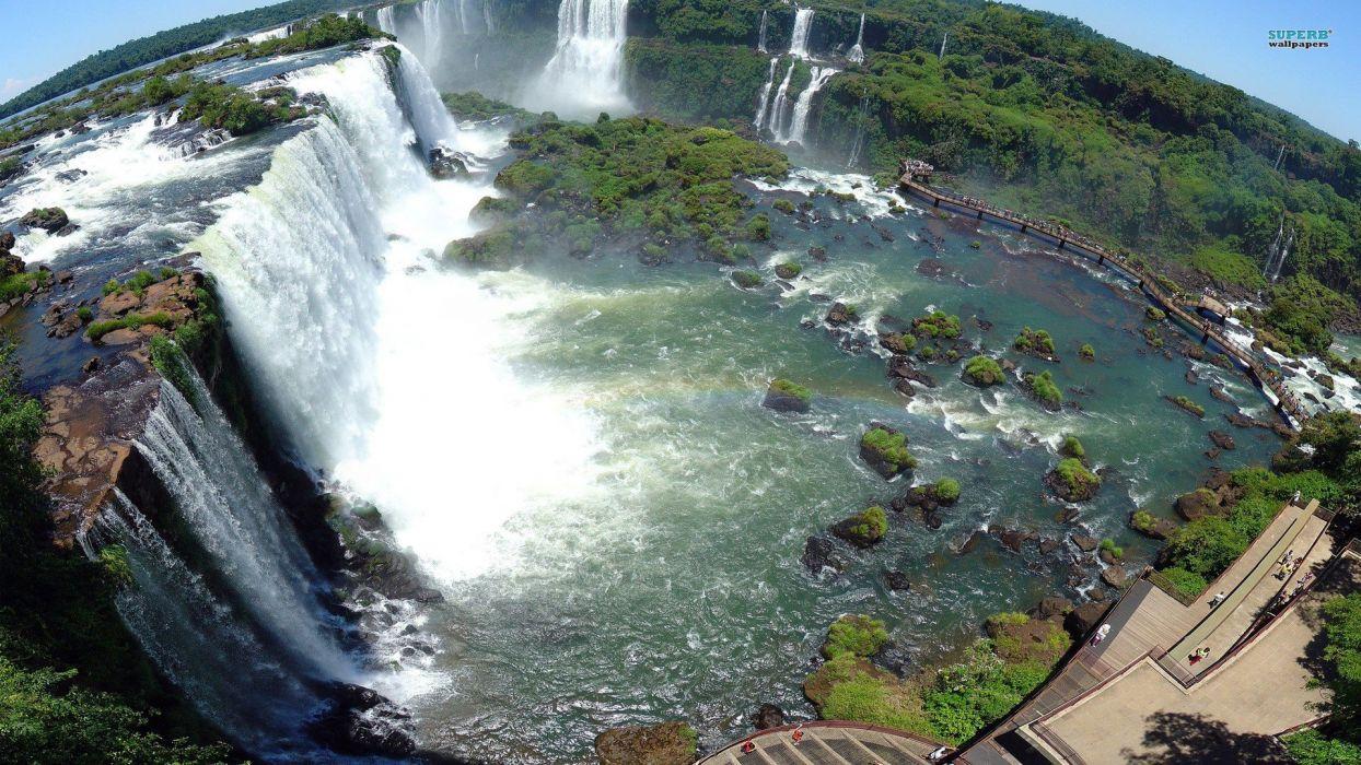nature cityscapes forests waterfalls Iguazu falls wallpaper
