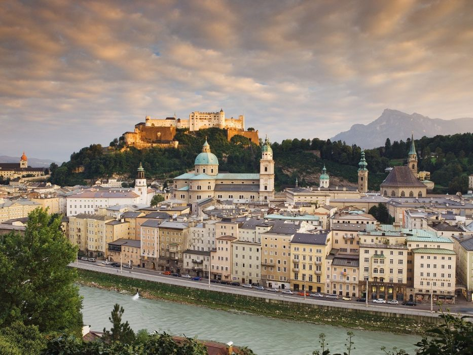 old Austria towns castle Salzburg wallpaper