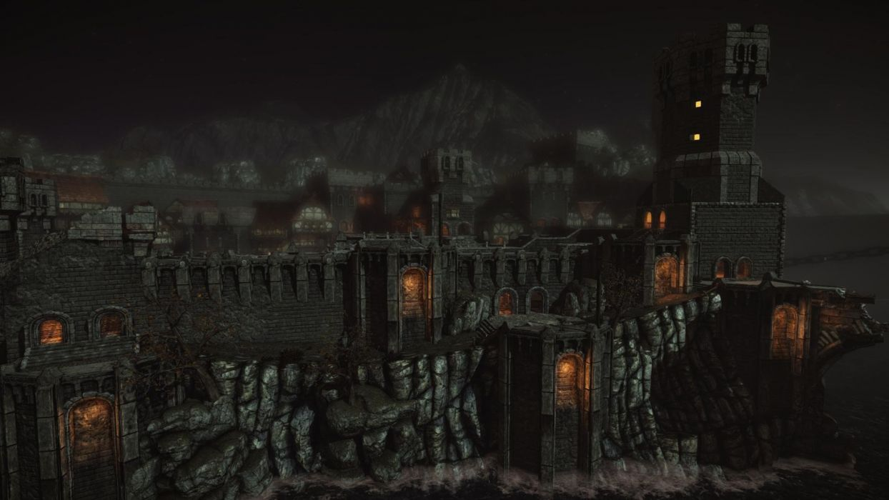 video games castles dark night fortress warfare video medieval medieval buildings game chivalry townscape wallpaper