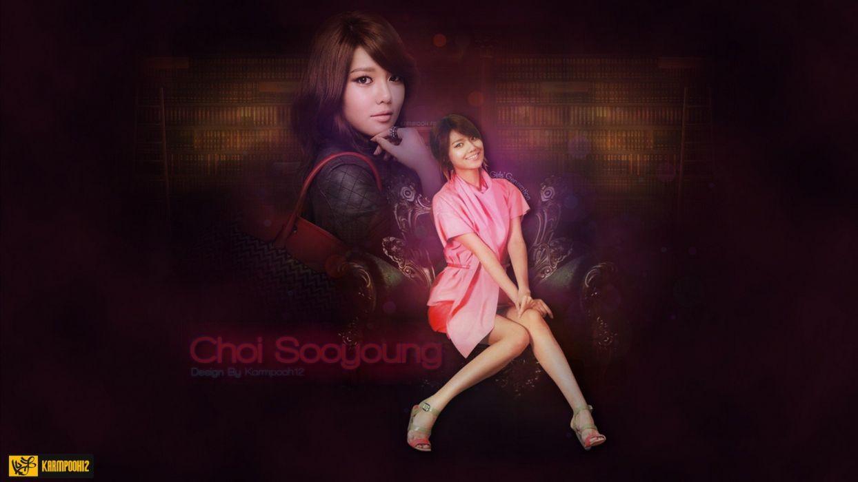 brunettes women Girls Generation SNSD celebrity Asians Korean singers Choi Sooyoung sitting wallpaper