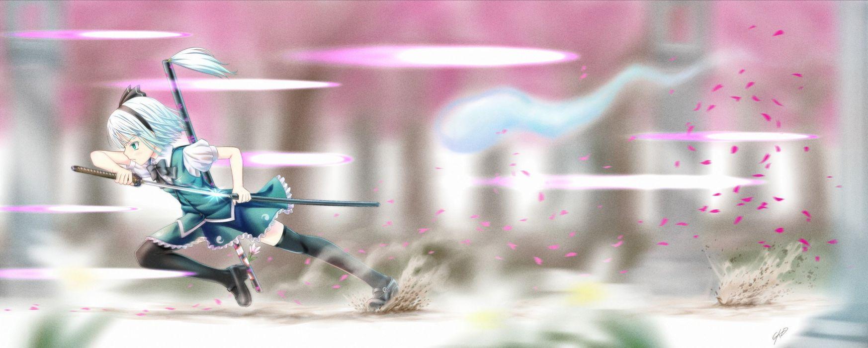 video games Touhou katana weapons Konpaku Youmu short hair thigh highs anime white hair multiscreen hair band swords wallpaper