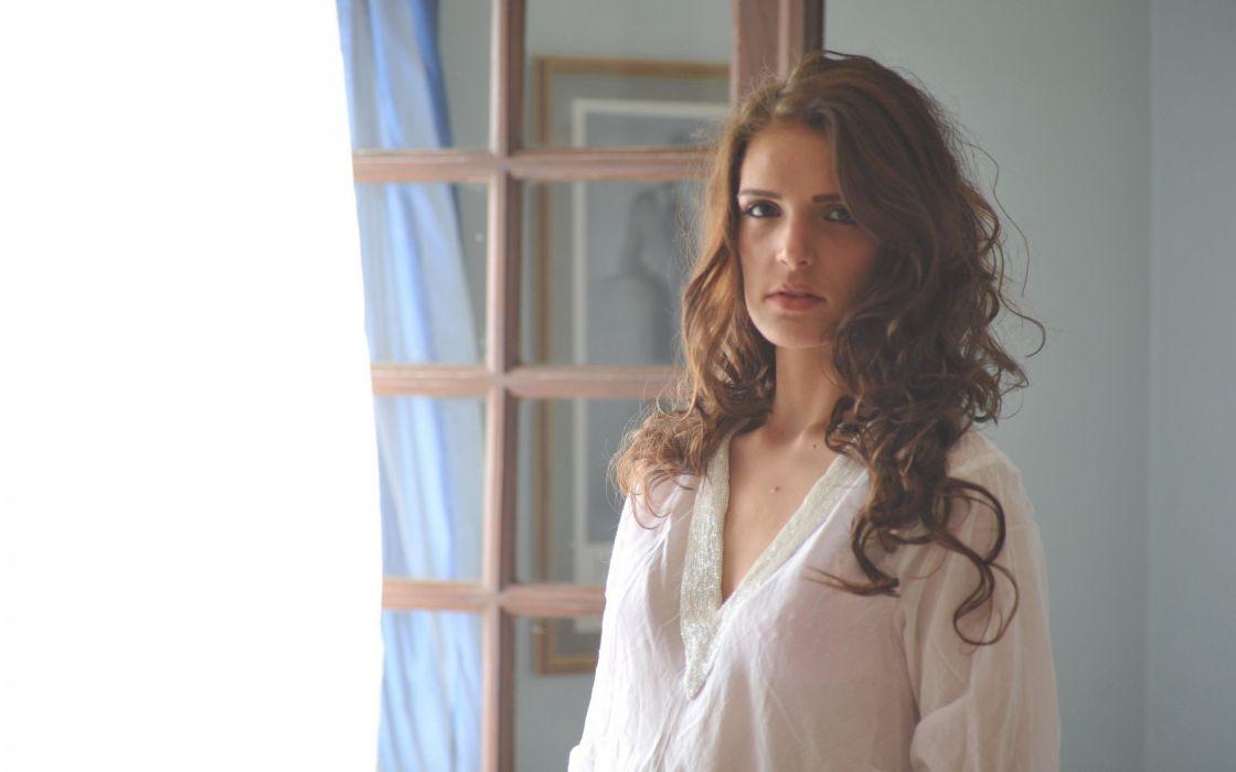 brunettes women shirts natural lighting Take5Girls magazine Lucy Blackburn wallpaper