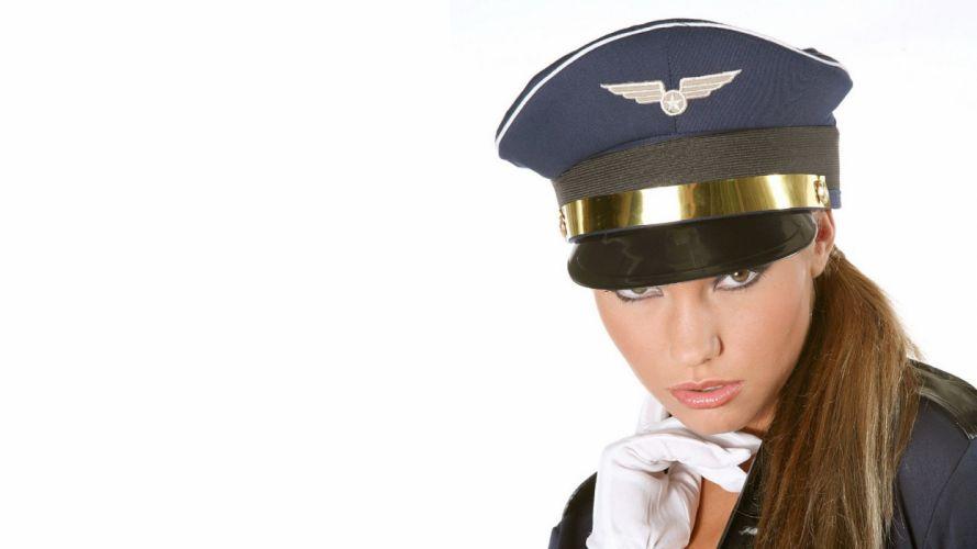 brunettes women eyes uniforms models Pilot lips white background wallpaper