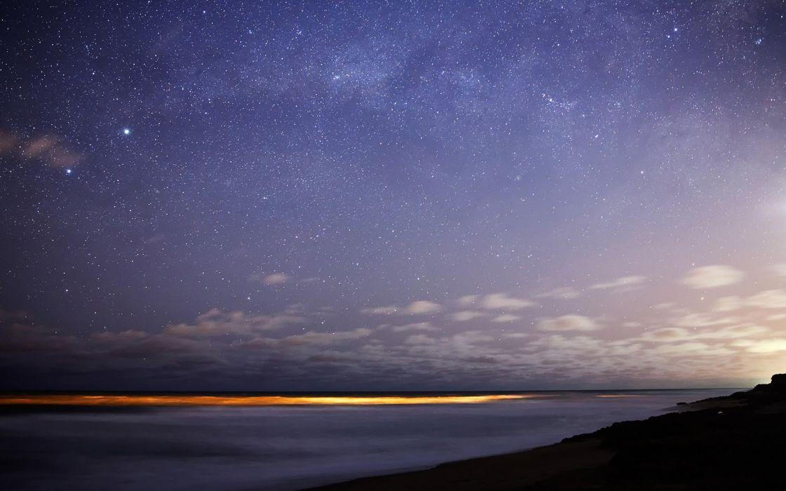 landscapes nature horizon night stars sky sea wallpaper