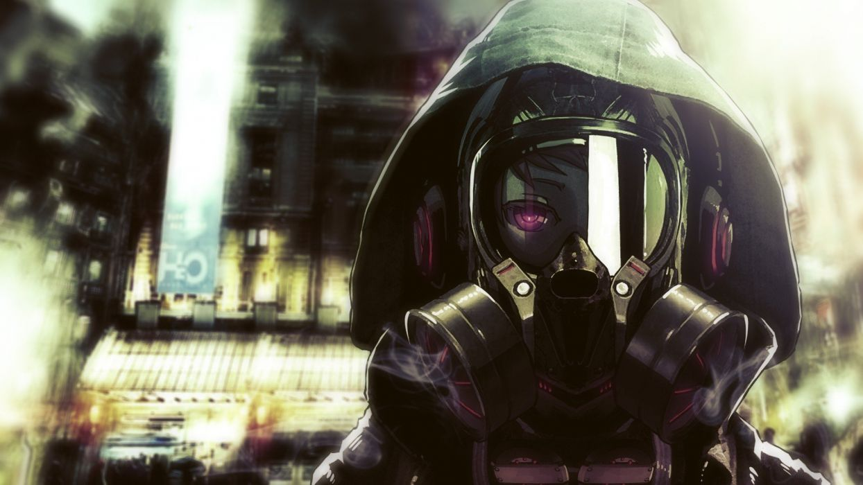 headphones smoke gas masks short hair hoodies anime helmets purple eyes pink eyes anime girls blurred background wallpaper