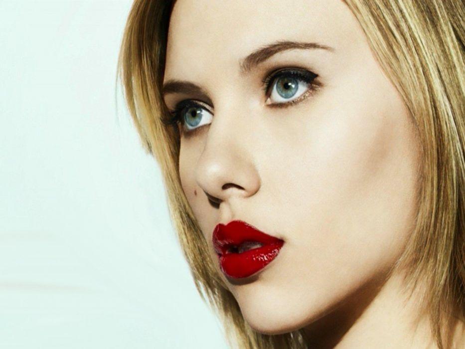 blondes women Scarlett Johansson lips faces white background wallpaper