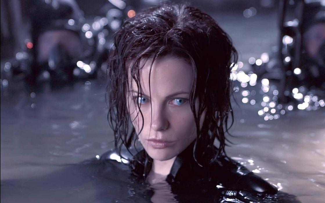 leather brunettes women movies wet Kate Beckinsale Underworld vampires wallpaper