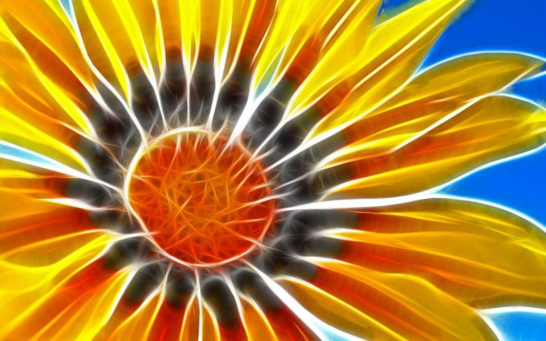 Fractalius sunflowers wallpaper